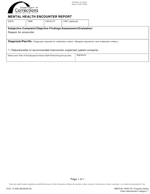 Form DOC13-538  Printable Pdf