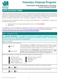 "ECY Form 020-74 ""Voluntary Cleanup Program Application Form"" - Washington"