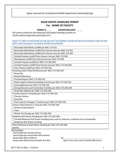 ECY Form 030-24  Printable Pdf