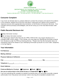"""Consumer Services Complaint Form"" - Washington"