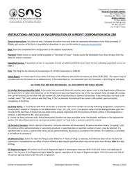 """Articles of Incorporation - Washington Profit Corporation"" - Washington"