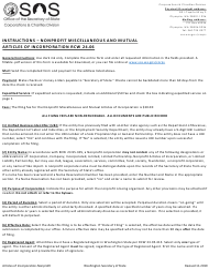 """Articles of Incorporation - Washington Nonprofit Corporation Miscellaneous and Mutual"" - Washington"