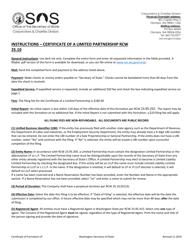 """Certificate of Limited Partnership"" - Washington"