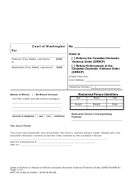"""Form WPF DV-8.020 """"Order to Enforce or Refuse to Enforce Canadian Domestic Violence Protection Order"""" - Washington"""