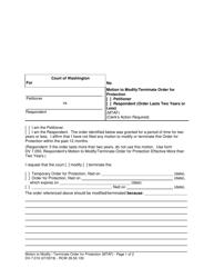"""Form WPF DV-7.010 """"Motion to Modify/Terminate Order for Protection"""" - Washington"""