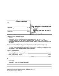 "Form WPF DV-7.030 ""Order Modifying/Terminating Order for Protection"" - Washington"