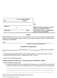 "Form XR281 ""Motion and Declaration to Seal Records of Extreme Risk Protection Order - Respondent Under 18 Years (Mtaf)"" - Washington"