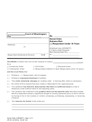 "Form XR301 ""Denial Order - Extreme Risk - Respondent Under 18 Years"" - Washington"