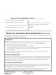 "Form FL Divorce221 ""Motion for Immediate Restraining Order (Ex Parte)"" - Washington"