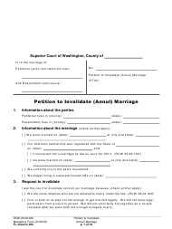 "Form FL Divorce205 ""Petition to Invalidate (Annul) Marriage"" - Washington"