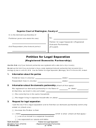 "Form FL Divorce204 ""Petition for Legal Separation (Registered Domestic Partnership)"" - Washington"