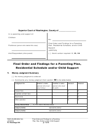 "Form FL Parentage333 ""Final Order and Findings for a Parenting Plan, Residential Schedule and/or Child Support"" - Washington"