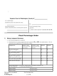 "Form FL Parentage316 ""Final Parentage Order"" - Washington"