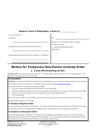 "Form FL Non-Parent423 ""Motion for Temporary Non-parent Custody Order and Restraining Order"" - Washington"