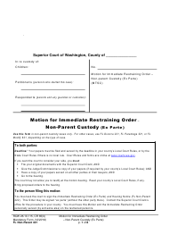 "Form FL Non-Parent421 ""Motion for Immediate Restraining Order - Non-parent Custody (Ex Parte)"" - Washington"
