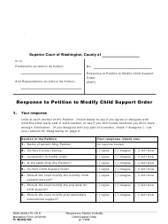 "Form FL Modify502 ""Response to Petition to Modify Child Support Order"" - Washington"