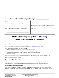 "Form FL Relocate726 ""Motion for Temporary Order Allowing Move With Children (Relocation)"" - Washington"