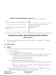 "Form FL Relocate728 ""Temporary Order About Moving With Children (Relocation)"" - Washington"
