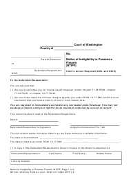 "Form MP001 ""Notice of Ineligibility to Possess a Firearm"" - Washington"