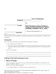 "Form MP270 ""Order Dismissing ""serious Nonfelony"" Charge and Directing Referral or Release"" - Washington"