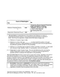 """Form WPF SA-2.015 """"Temporary Sexual Assault Protection Order and Notice of Hearing (Tmorsxp)"""" - Washington"""