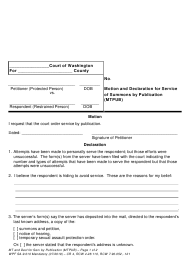 """Form WPF SA-9.010 """"Motion and Declaration for Service of Summons by Publication (Mtpub)"""" - Washington"""