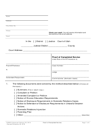 "Form 1020GEJ ""Proof of Completed Service"" - Utah"