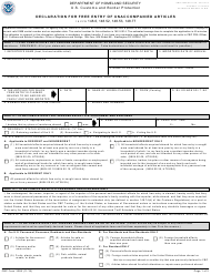 """CBP Form 3299 """"Declaration of Free Entry of Unaccompanied Articles"""""""