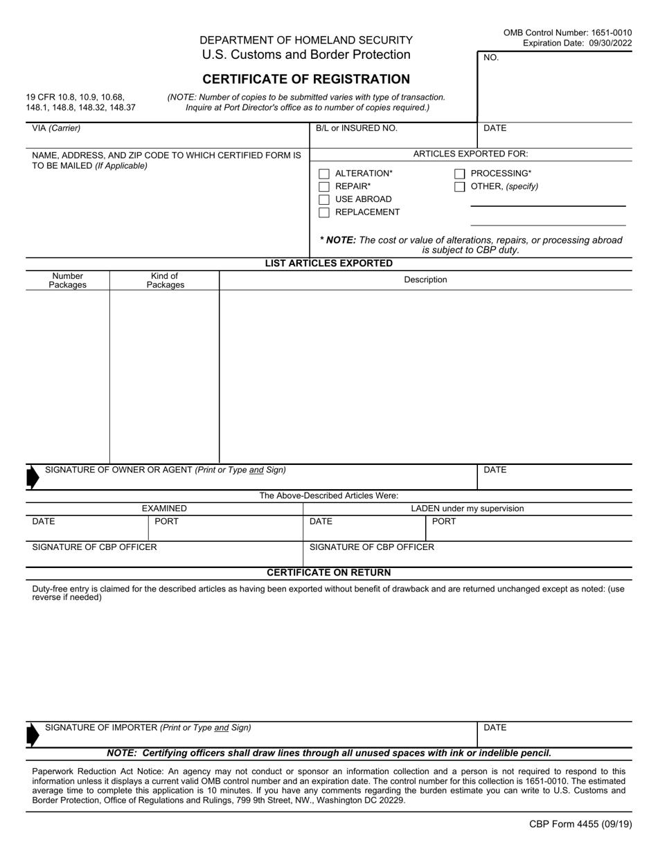 cbp form templateroller registration certificate
