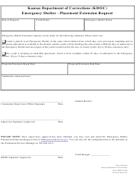 """Form KDOC-0120 """"Emergency Shelter - Placement Extension Request"""" - Kansas"""