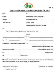 """""""Application for Non Availability Certificate for Birth"""" - Andhra Pradesh, India"""