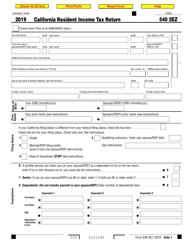 "Form 540 2EZ ""California Resident Income Tax Return"" - California, 2019"