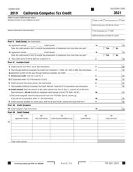 "Form FTB3531 ""California Competes Tax Credit"" - California, 2019"