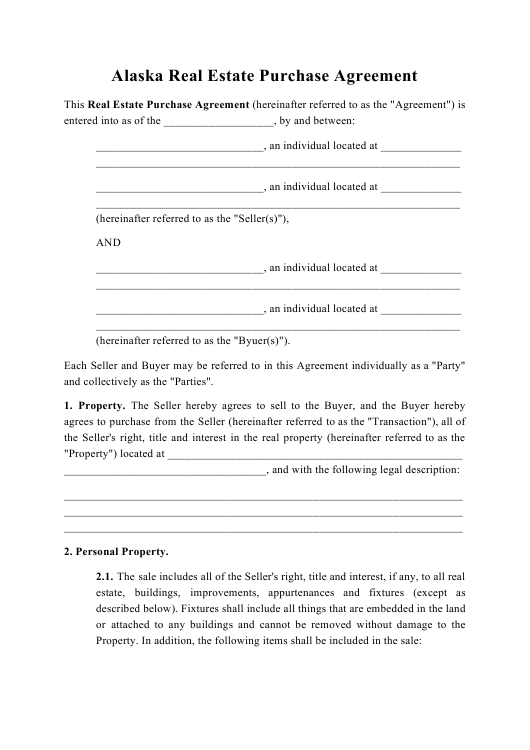 """Real Estate Purchase Agreement Template"" - Alaska Download Pdf"
