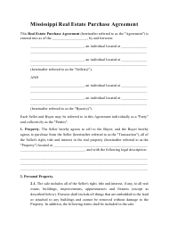 """Real Estate Purchase Agreement Template"" - Mississippi"