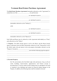 """""""Real Estate Purchase Agreement Template"""" - Vermont"""