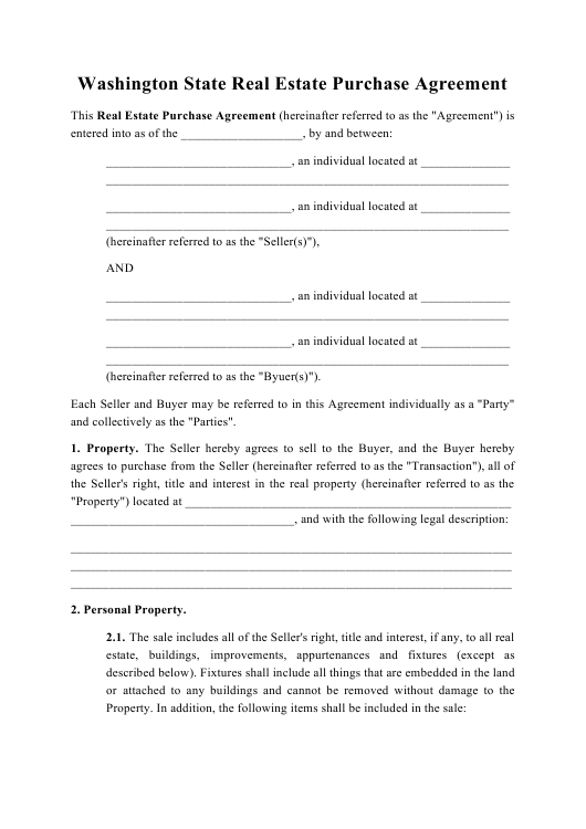 """Real Estate Purchase Agreement Template"" - Washington Download Pdf"
