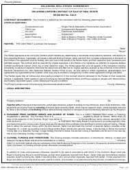 """Oklahoma Uniform Contract of Sale of Real Estate - Residential Sale"" - Oklahoma"