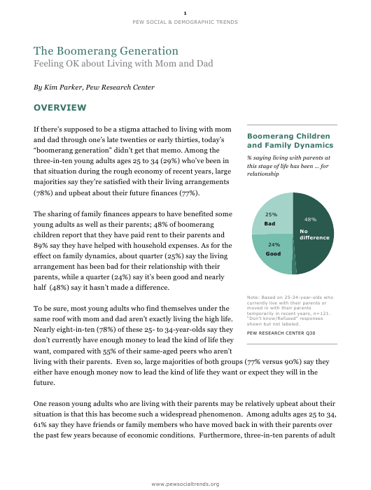 """""""The Boomerang Generation - Kim Parker, Pew Research Center"""" Download Pdf"""