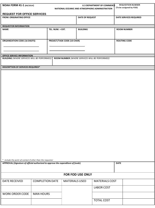 NOAA Form 41-1  Printable Pdf