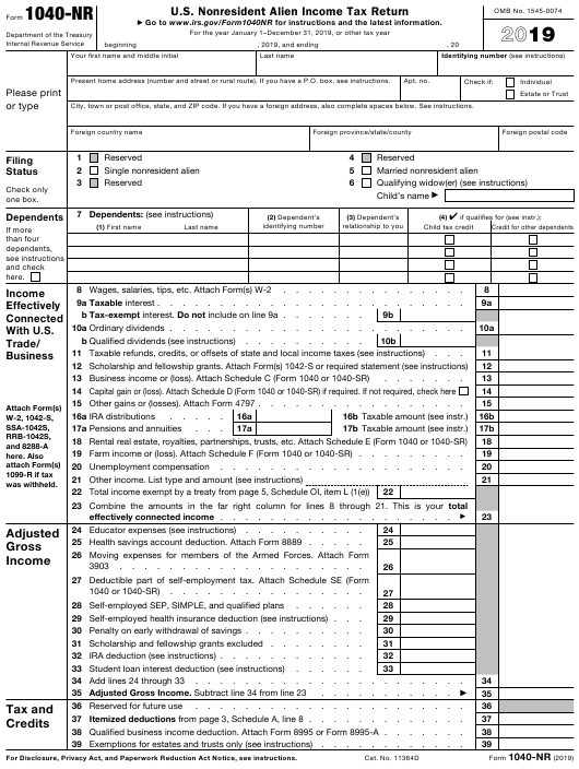 IRS Form 1040-NR 2019 Printable Pdf