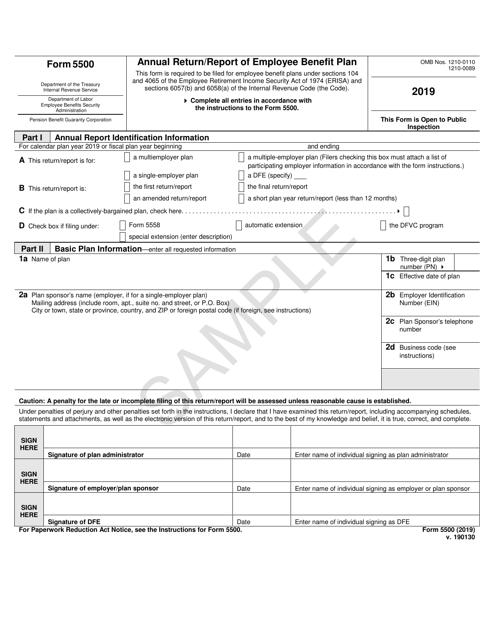 IRS Form 5500 2019 Printable Pdf