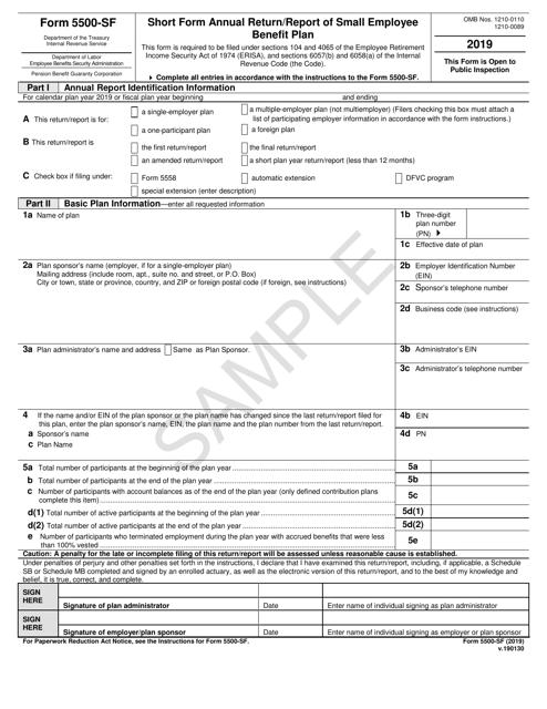 IRS Form 5500-SF 2019 Printable Pdf