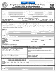 "Form MV-1 ""Motor Vehicle Title Application"" - Georgia (United States)"
