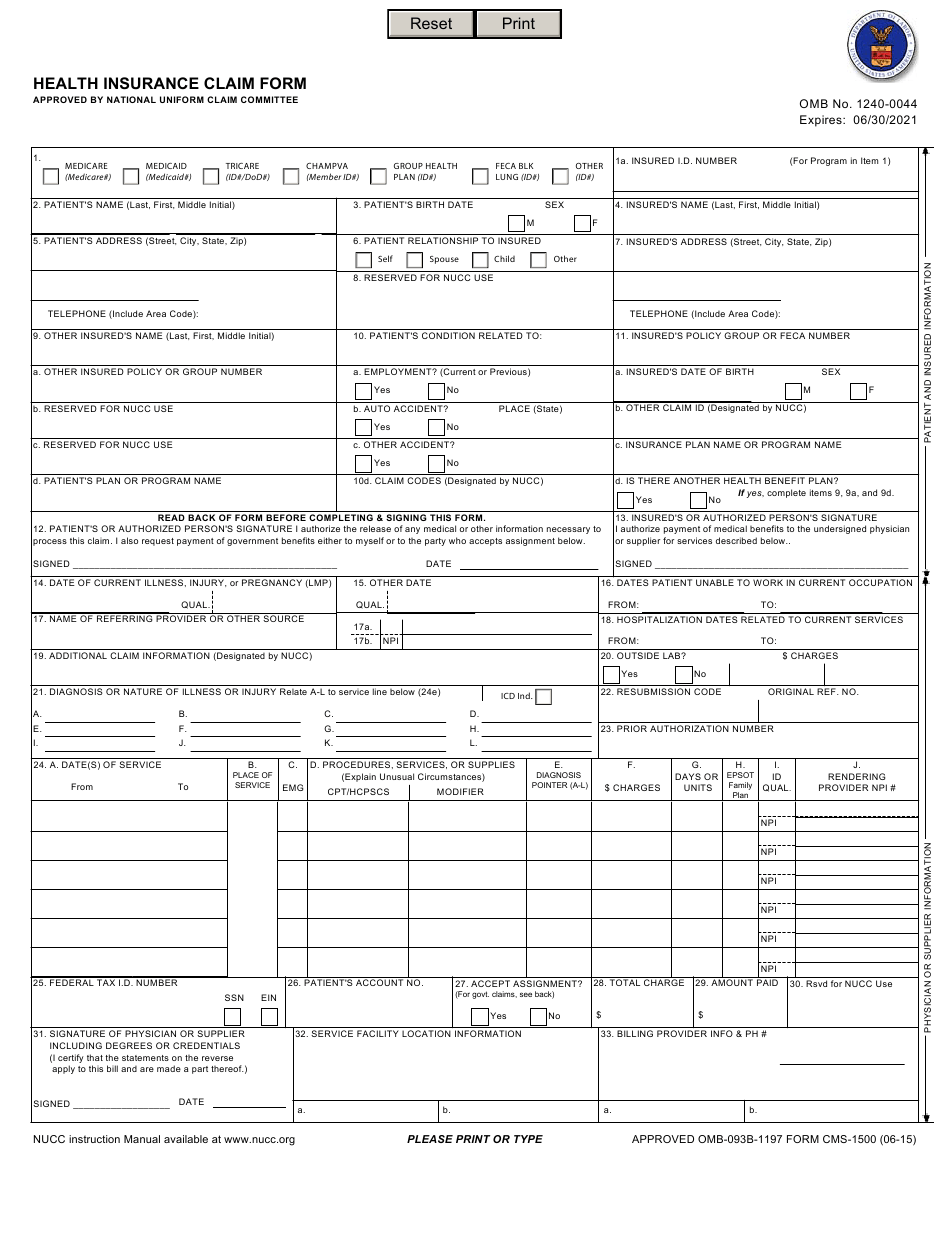 Form CMS-1500 Download Fillable PDF or Fill Online Health ...