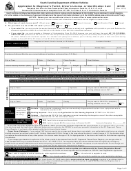 "Form 447-NC ""Application for Beginner's Permit, Driver's License, or Identification Card"" - South Carolina"