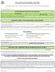 """Form DS-4085 """"Application for Additional Visa Pages or Miscellaneous Services"""""""