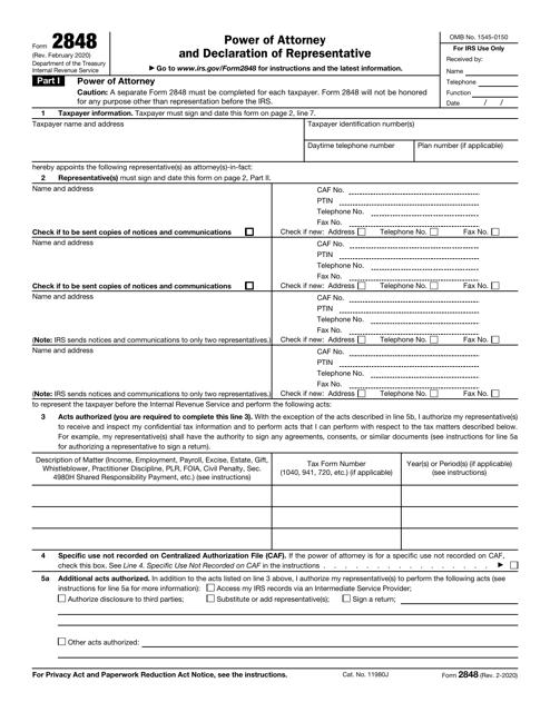 IRS Form 2848  Printable Pdf