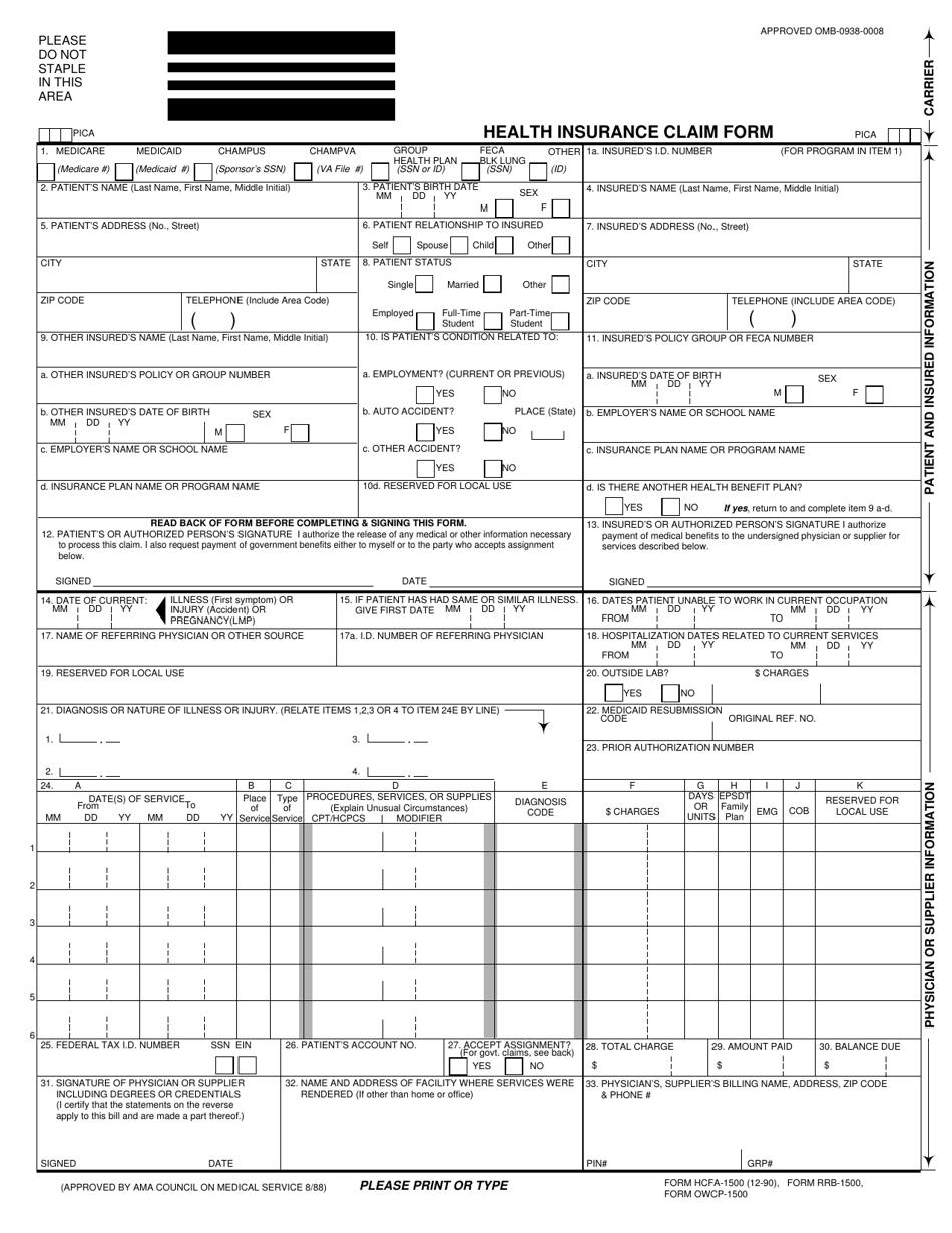 Form HCFA-1500 Download Printable PDF or Fill Online ...