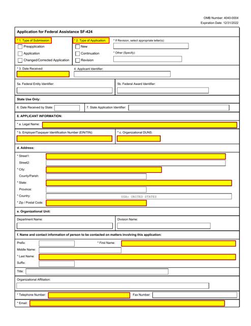 Form SF-424  Printable Pdf